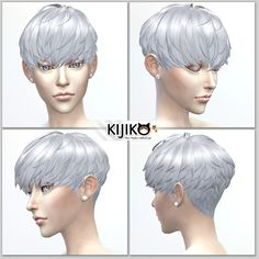 Sims 4 Hairs ~ Kijiko Sims: Short Hair With Heavy Bangs for her Kijiko Si. Sims 4 Hairs ~ Kijiko S Short Grey Hair, Short Hair With Bangs, Short Hair Cuts, Blonde Pixie Cuts, Short Pixie Haircuts, Pixie Hairstyles, Hairstyles With Bangs, Short Wedge Hairstyles, Sims 4 Hair Male