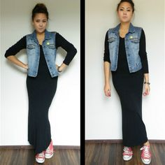 Hennes Diy Denim Vest, Zara Pullover/Sweater/Jumper, Vintage Black Maxi Skirt, Ripped Converse