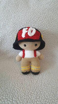 Crochet Fireman Big Head Doll Crochet Fireman doll by DesignsbyBBB