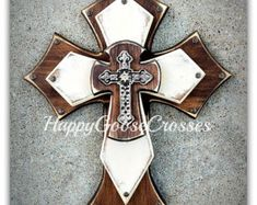 Large Wall CROSS Antiqued Beige black & cream by happygoose