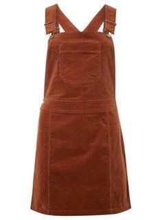 Robe salopette en velours côtelé marron