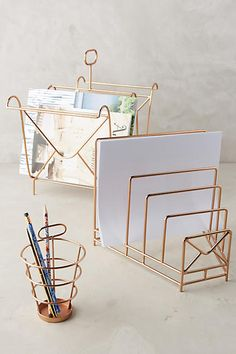 Can't believe these office accessoires are only $16! Handmade Gold Daventon Desk Collection. Shop them at Anthropologie: http://www.nonimay.com/GoldDeskItems #gold #office #desk #interior #anthropologie