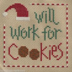 finished completed cross stitch LIZZIE KATE will work for cookies PREORDER