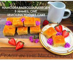 This Middle Eastern cake is so popular it goes by 3 names! Namoura in Lebanon, Basbousa in Egypt, and Harisseh in Palestine. Semolina yogurt cake is doused with a lemony simple syrup scented with rose. Middle East Food, Arabic Dessert, Yogurt Cake, Simple Syrup, Palestine, Lebanon, Family Meals, Egypt, Vegan Recipes