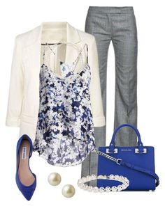 Bright blue bag, top, and flats goes with neutral blazer and pants for a pop of color look this spring business casual!