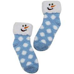 Smiling Snowman Winter Holiday Socks ($13) ❤ liked on Polyvore featuring intimates, hosiery, socks, blue, fuzzy, dot socks, crew cut socks, cuff socks, fuzzy socks and wide socks