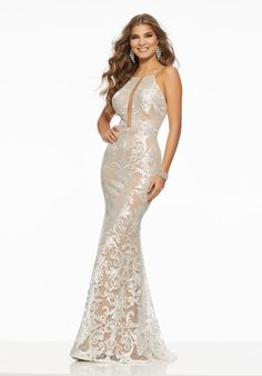 cce9ab6ef Chic Fitted Party Dress Featuring Intricate Allover Sequined Embroidery on  Net Mori Lee Prom Dresses,