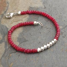 Ruby Thai Hill Tribe Silver Bracelet   String of by YarrowJewelry, $49.00