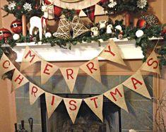 Merry Christmas Banner, Christmas Banner, Christmas Burlap Banner, Christmas Decoration, Christmas Mantel Decor, Christmas Decor, Xmas Decor