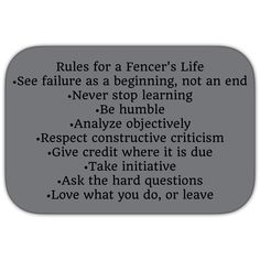 Rules for a fencer's live