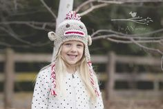 Is there anything cuter than a crochet sock monkey hat? This hat is perfect for the cold winter weather or used as a newborn photo prop.  Not just for kids, this hat is perfect for adults too!Available hat sizes (**Please note that sizes listed below are general sizes. If possible, please measure your child's head for an accurate size):0-3 months fits 12-14 inches3-6 months fits 14-16 inches6-12 months fits 16-18 inches2-4 years fits 19-20 inches5-10 years fits 20-22 inchesTeen/Small Ad...
