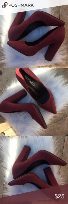Suede Pumps Perfect pointy toe pump with chunky heel. Smooth suede like material. Heel height approximately 4 inches. Wine color Shoes Heels