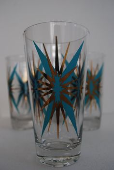Turquoise and gold starburst glasses-I already have the shot glass size of these.