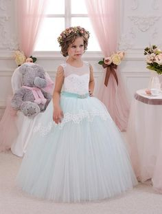 2016 Mint Ivory Lace Tulle Flower Girl Dress Birthday Wedding Party Holiday Bridesmaid Fancy Mint Ivory Lace Tulle Flower Girl Dress Silver Flower Girl Dresses Toddler Dress From Liuliu8899, $93.46| Dhgate.Com
