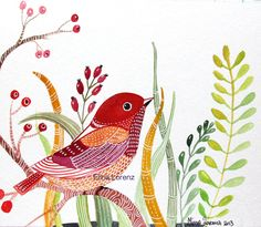 Red Bird-Bird Art- Painting- Floral- Berries- botanical-illustration- Wall Art- Room Decor-Home decor-Organic Art- Original Art And Illustration, Illustrations, Watercolor Bird, Watercolor Paintings, Watercolor Portraits, Watercolor Landscape, Abstract Paintings, Art Paintings, Organic Art