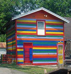 Rainbow garage house  . . .