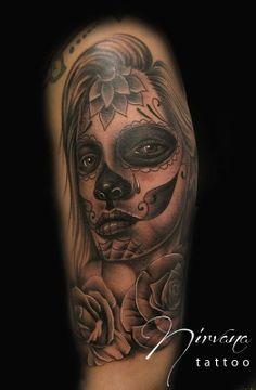 ~Sugar Skull Girl~ Mexican Skull Tattoos, Sugar Skull Girl Tattoo, Mexican Skulls, Piercing, Colored Sugar, Sugar Skulls, Tattos, Girl Tattoos, Black And Grey