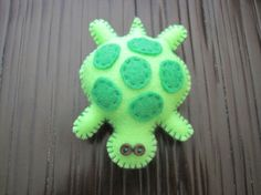 Tiny plush green felt stuffed animal turtle by quiltsandcritters