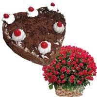 Basket of 100 Red Roses with 1 kg heart Shape Black forest Cake