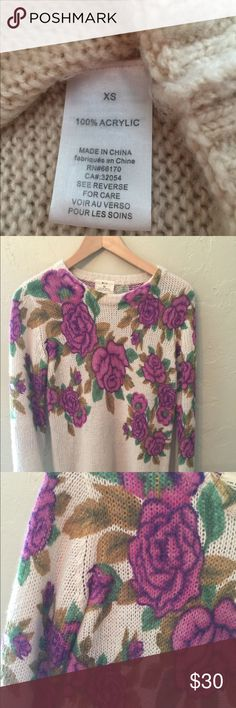 Pins and Needles floral soft sweater This looks vintage but is a current trend with the floral old school design look and feel. Soft enough to wear alone without a bottom layer. Great with skinny jeans and boots for fall. Grab it now! Urban Outfitters Sweaters Crew & Scoop Necks