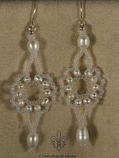 Elegant pearl lace earrings E886 by Fleur-de-Irk.deviantart.com on @deviantART