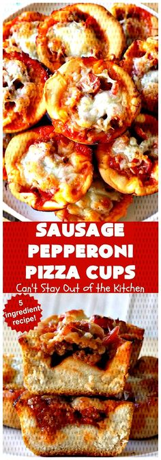 Sausage Pepperoni Pizza Cups – Can't Stay Out of the Kitchen Pizza Appetizers, Appetizer Recipes, Snack Recipes, Pizza Cups, B Recipe, 5 Ingredient Recipes, Pasta, How To Cook Sausage, Finger Foods
