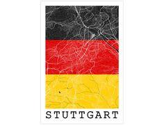 Stuttgart Street Map Stuttgart Germany Flag Modern by JurqStudio
