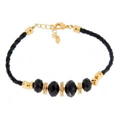 18K Gold Plated Alloy Stylish Black Stone Decorations Bracelet