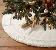 Ivory Velvet Tree Skirt with Faux Sheepskin Border #potterybarn