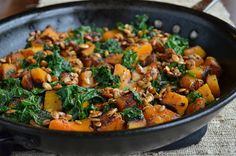 Skillet Butternut Squash and Kale with Maple-Roasted Pumpkin Seeds - Three Many Cooks