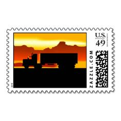 OTR Trucker Silhouette At Sunset Stationery Stamps. It is really great to make each letter a special delivery! Add a unique touch to invites or cards with your own photos or text. Just click the image to learn more!