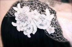 Vintage Lace Bridal Headpiece with birdcage veil Vintage romance! by GracefullyGirly, $68.00