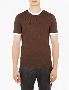Neil Barrett Brown Techno Knit T-Shirt The Neil Barrett Techno Knit T-Shirt, seen here in brown. - - - Neil Barrett updates the classic t-shirt in typically luxurious fashion, with this particular style crafted from a unique viscose and ny http://www.MightGet.com/january-2017-13/neil-barrett-brown-techno-knit-t-shirt.asp
