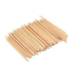 100pcs Design Orange Wood Stick Cuticle Pusher Remover Manicure Care New N4SL