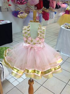 Minnie Mouse tutú de cinta color de rosa y oro cumpleaños