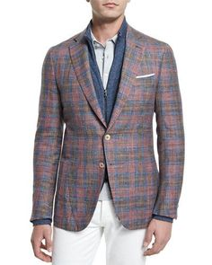 N3PWZ Isaia Madras Plaid Two-Button Sport Coat, Red/Blue