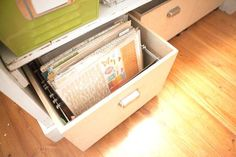 Creative Spaces with Marcy Penner: Storage on a budget - Two Peas in a Bucket. Mount the rails lower in a deep drawer and use standard files, Brilliant!