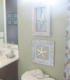 Beach bathroom dcor small frames blue matting net backing and