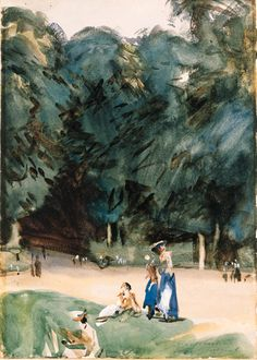 """""""Near Versailles,"""" John Singer Sargent, watercolor on paper, 13¾ x 9½"""", private collection."""