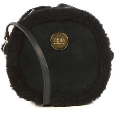 Ugg Bailey Bow Sheepskin Bag (€135) ❤ liked on Polyvore featuring bags, handbags, shoulder bags, black, chain shoulder bag, zipper shoulder bag, black bow purse, chain handbags and black chain purse