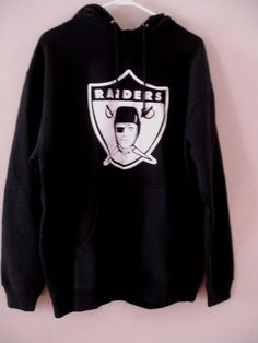 7798a57066182 RAIDERS NFL Proline CLASSIC LOGO HOODIE BLACK PULLOVER OAKLAND NATION Sz M