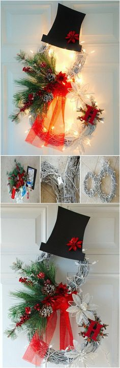 Festive DIY Christmas Wreaths with Lots of Tutorials - For Creative Juice Christmas Ornament Wreath, Holiday Wreaths, Snowman Wreath, Christmas Decorations, Christmas Projects, Holiday Crafts, Christmas Holidays, Christmas Ideas, Diy Wreath