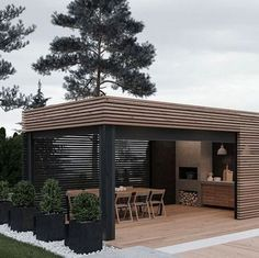 Cooking outdoors at Outdoor Kitchen brings a different sensation. We can use our patio / backyard space to build outdoor kitchen. Outdoor kitchen u. Outdoor Kitchen Design, Patio Design, Garden Design, House Design, Terrace Design, Grill Design, Design Hotel, Backyard Patio, Backyard Landscaping