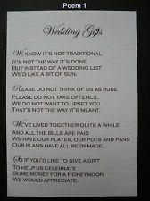 50 Handmade Personalised Wedding Gift Poem Verse Cards Politely Asking For Money