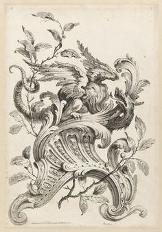 Alexis Peyrotte, 'Winged Griffon on a Rocaille Bracket, from Premiere Partie Diverse Ornements,' 1745, Cooper Hewitt, Smithsonian Design Museum