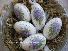 Pysanka egg with  Violets Polish easter eggshand made by Bettineum, $29.34