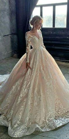 Cute Wedding Dress, Wedding Dress Trends, Long Wedding Dresses, Princess Wedding Dresses, Bridal Dresses, Gown Wedding, Wedding Bride, Lace Wedding, Disney Wedding Dresses