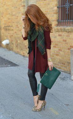 green + burgundy