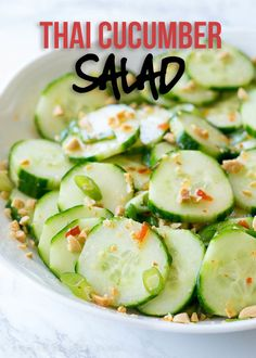 Crunchy Thai Cucumber Salad is filled with crisp cucumbers in a slightly sweet and spicy dressings, then topped with crunchy peanuts. Crunchy Thai Cucumber Salad has become one of my new favorite salads during the summer months because it Cucumber Salad Dressing, Spicy Cucumber Salad, Cucumber Recipes, Healthy Salad Recipes, Juicer Recipes, Detox Salad, Healthy Eats, Healthy Foods, Salad Recipes For Dinner