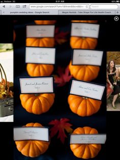 Use pumpkins to insert table numbers at every table... So cute!